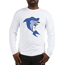 Smoking Martini Shark Long Sleeve T-Shirt
