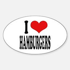 I Love Hamburgers (word) Oval Decal