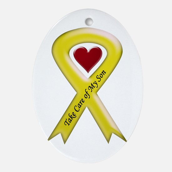 Take Care of my Son Yellow Ribbon Oval Ornament