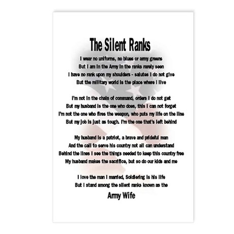 the silent ranks army wife Postcards (Package of 8