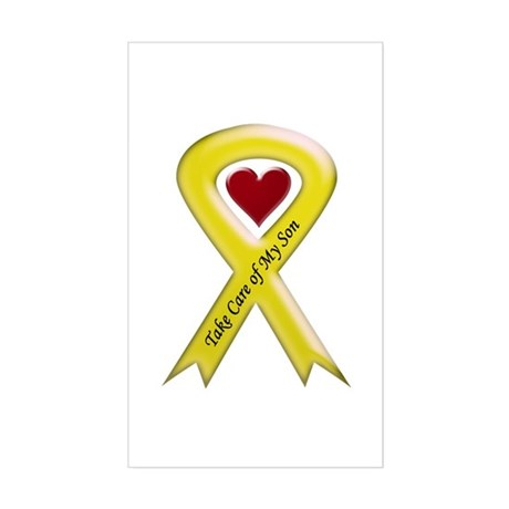 Take Care of my Son Yellow Ribbon Sticker (Rectang