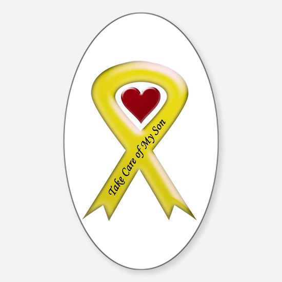 Take Care of my Son Yellow Ribbon Oval Decal