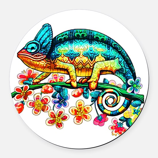 Colorful Camouflage Chameleon Round Car Magnet