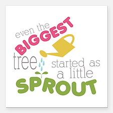 "Little Sprout Square Car Magnet 3"" x 3"""