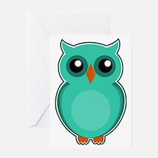 Cute Green owl Greeting Card