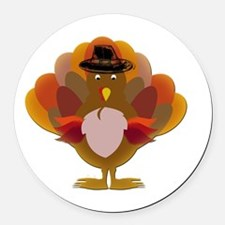 Cute Thanksgiving Turkey Round Car Magnet
