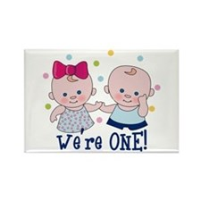We're One Boy & Girl Rectangle Magnet