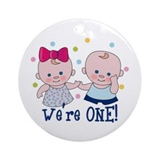 We're One Boy & Girl Ornament (Round)