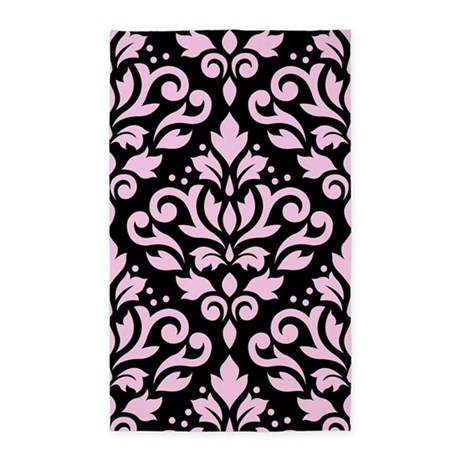 Scroll Damask Lg Ptn Pink/Blk Area Rug