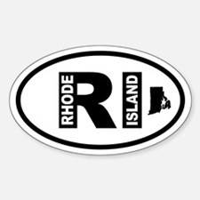 Rhode Island Map Oval Bumper Stickers