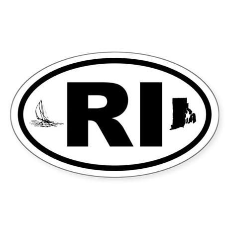 Rhode Island Sailboat and Map Oval Sticker