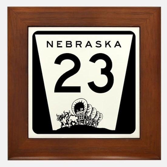 Highway 23, Nebraska Framed Tile
