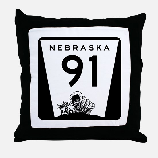 Highway 91, Nebraska Throw Pillow