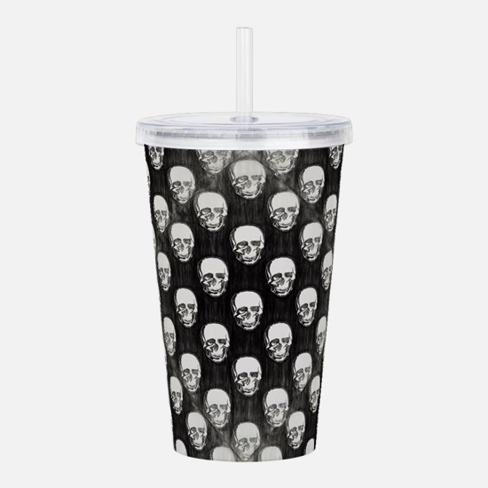 Black and White Skulls Acrylic Double-wall Tumbler