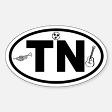 Tennessee Music and Flag Oval Decal