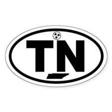 Tennessee Flag and Map Oval Decal