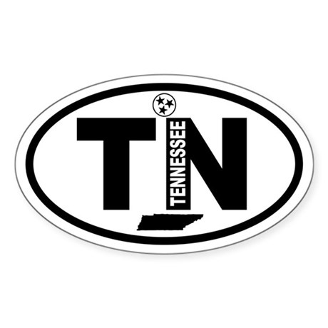 Tennessee Map and Flag Oval Sticker