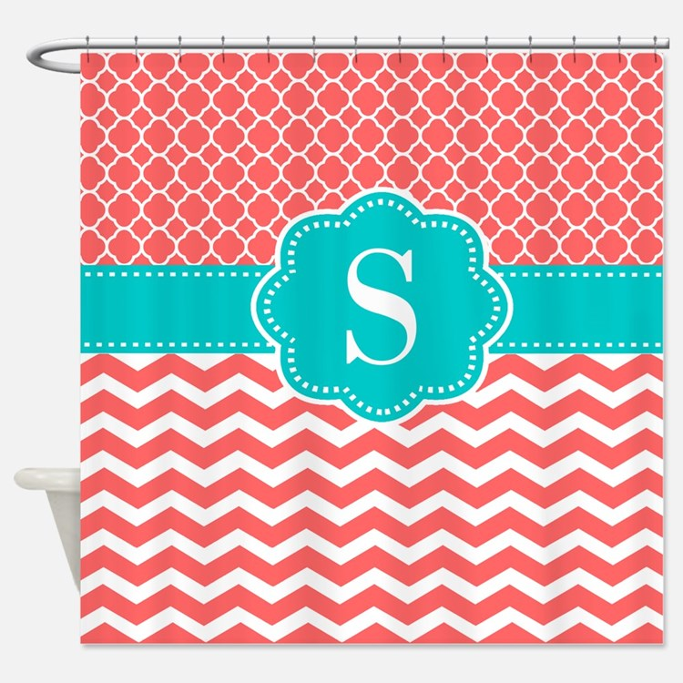 turquoise and coral shower curtains turquoise and coral fabric