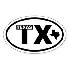 Texas Map Oval Decal
