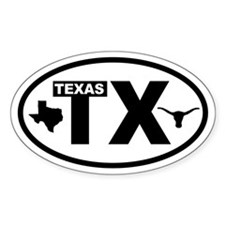 Texas Longhorn and Map Oval Decal