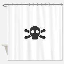 Simple Black Skull and Crossbones Shower Curtain