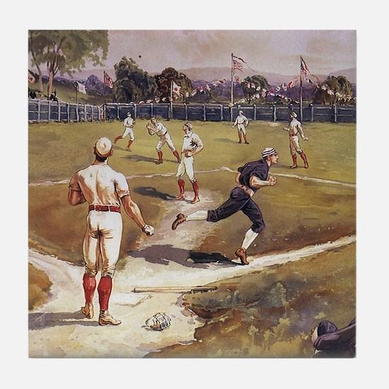 Vintage Sports Baseball Tile Coaster
