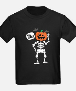 Cute Pumpkin Head Skeleton, Oh Snap Broken Leg T-S