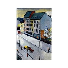 Macke - Our Street in Gray Rectangle Magnet