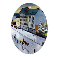 Macke - Our Street in Gray Oval Ornament