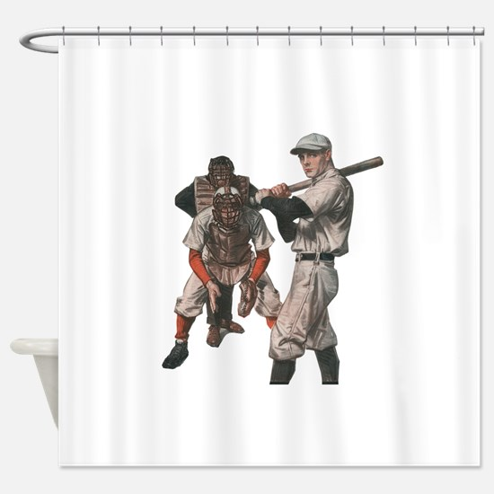 Vintage Sports Baseball Shower Curtain