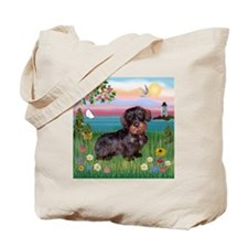 Lighthouse Wire Haired Dachshund Tote Bag