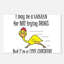LIVE CHICKENS DON'T TRY DRUGS Postcards (Package o