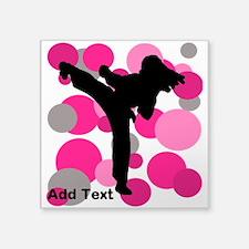"Karate Girl Square Sticker 3"" x 3"""