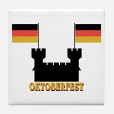 Oktoberfest Castle w/Flags Tile Coaster