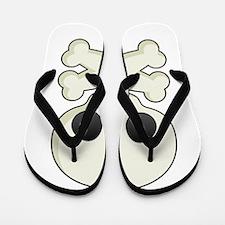 White skull and crossbones Flip Flops
