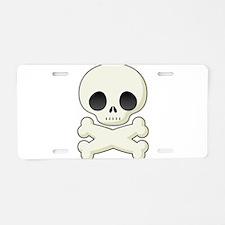 White skull and crossbones Aluminum License Plate
