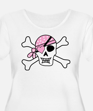 Pink Pirate Skull and Crossbones Plus Size T-Shirt