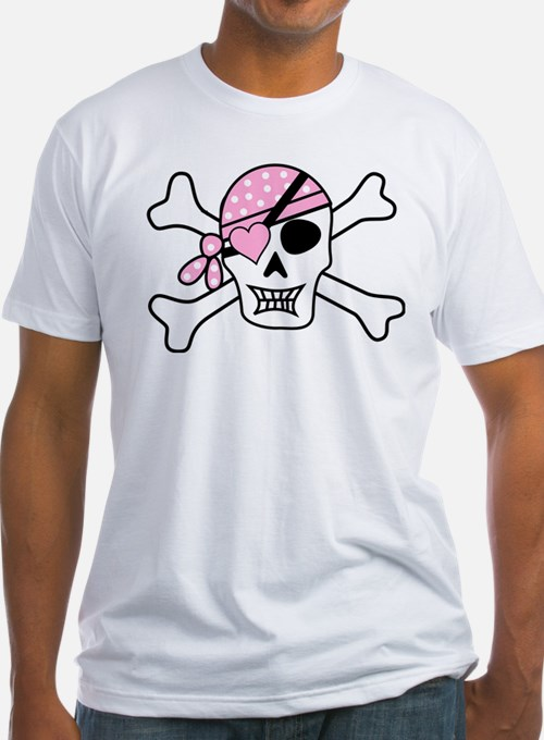 Pink Pirate Skull and Crossbones T-Shirt