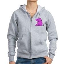 Purple Hippo Zip Hoodie