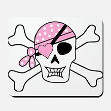 Pink Pirate Skull and Crossbones Mousepad