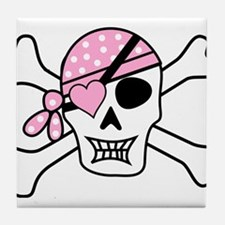 Pink Pirate Skull and Crossbones Tile Coaster
