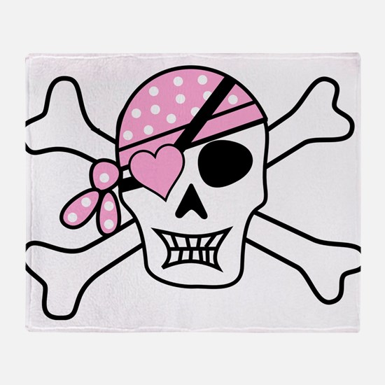 Pink Pirate Skull and Crossbones Throw Blanket