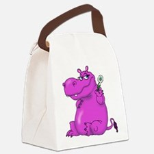 Purple Hippo Canvas Lunch Bag