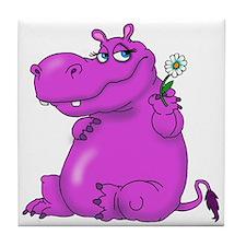 Purple Hippo Tile Coaster