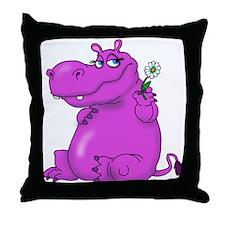 Purple Hippo Throw Pillow