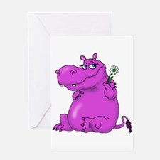 Purple Hippo Greeting Cards
