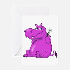 Purple Hippo Greeting Cards