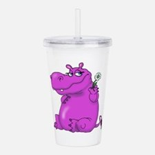 Purple Hippo Acrylic Double-wall Tumbler