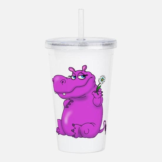 Purple Hippo Acrylic Double-wall Tumbler