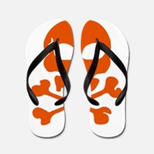 Orange skull and crossbones Flip Flops